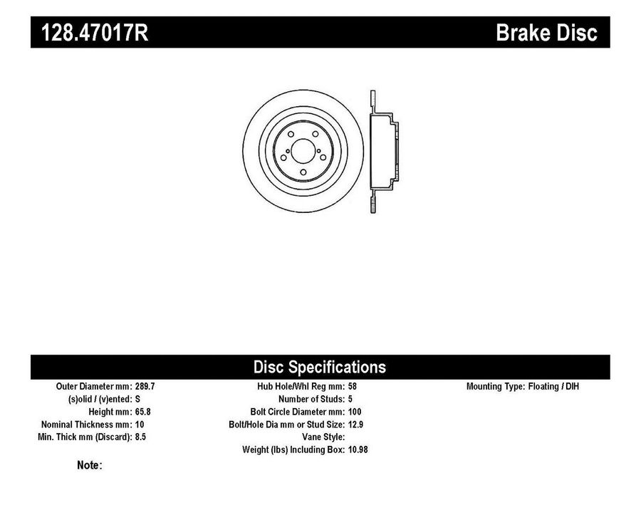 StopTech Disc Brake Rotors Brakes StopTech Sport Drilled Disc 128.47017R