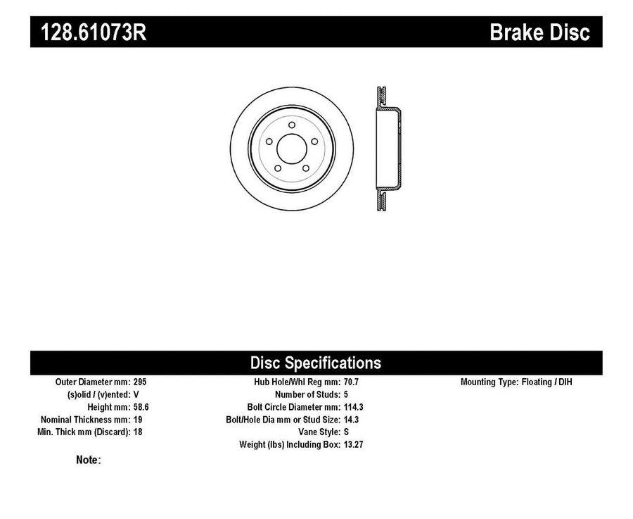 StopTech Disc Brake Rotors Brakes StopTech Sport Drilled Disc 128.61073R