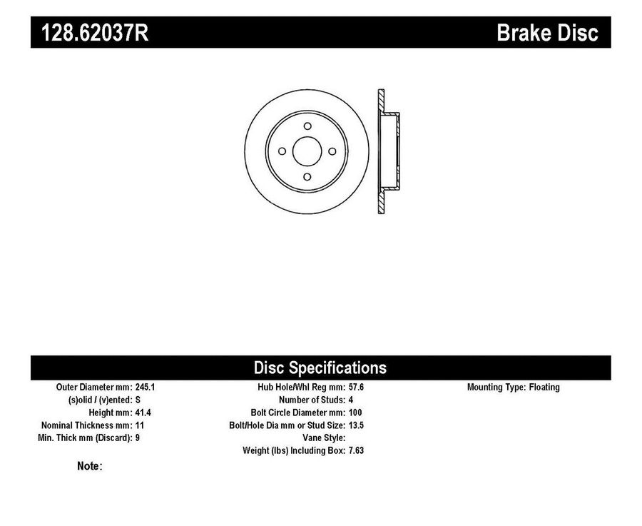 StopTech Disc Brake Rotors Brakes StopTech Sport Drilled Disc 128.62037R