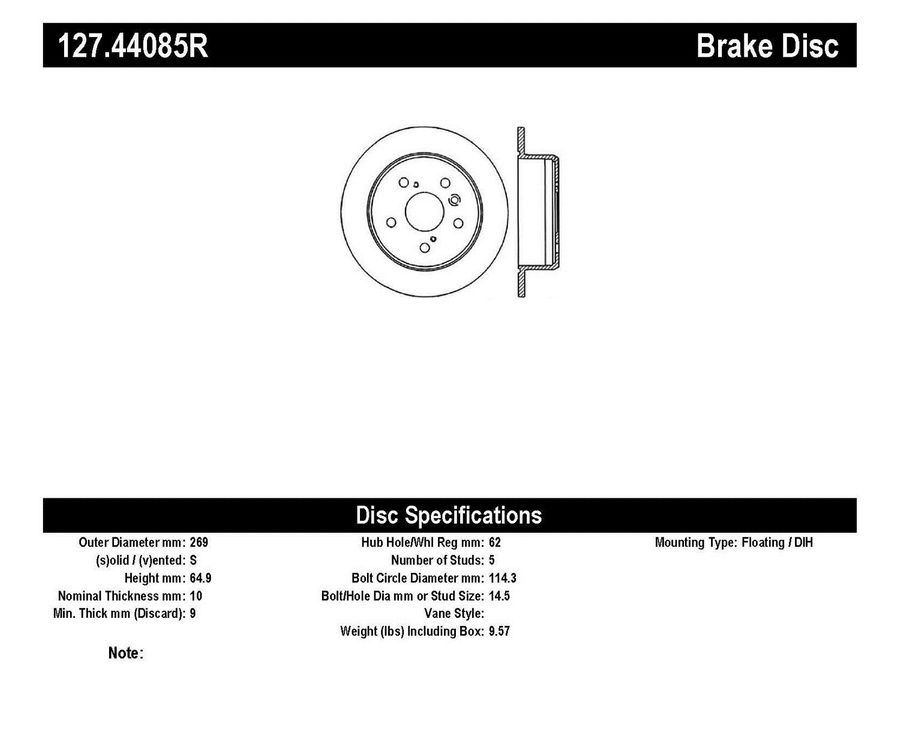 StopTech Disc Brake Rotors Brakes StopTech Sport Drilled/Slotted Disc 127.44085R