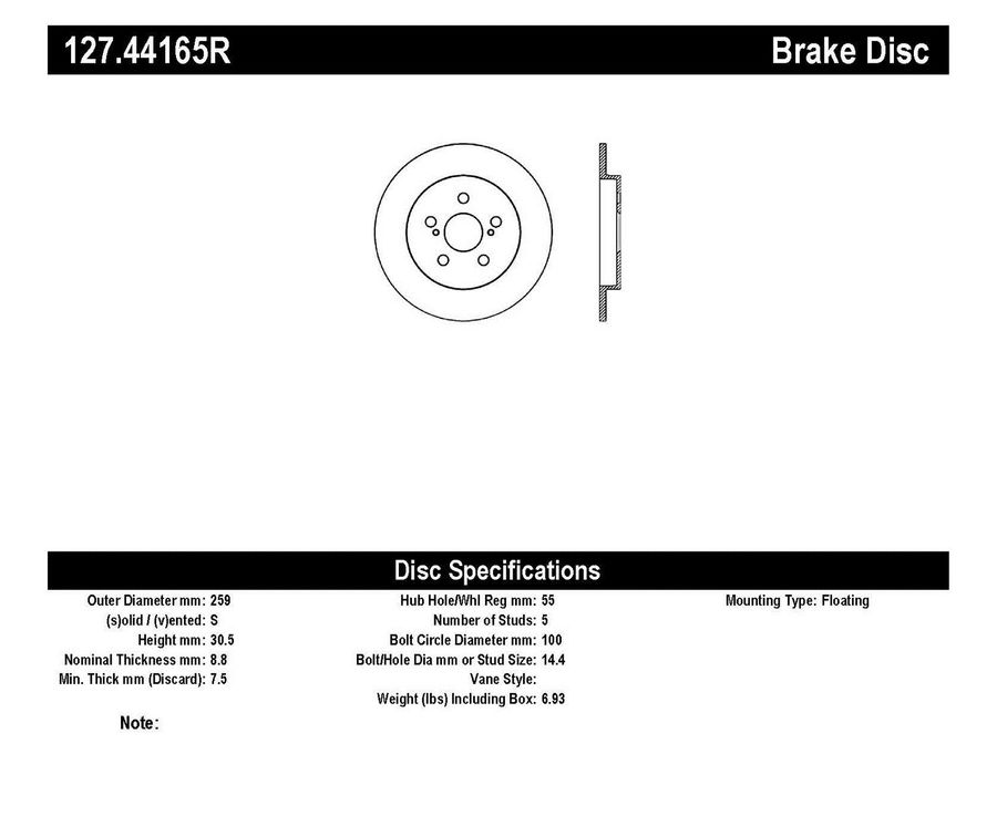 StopTech Disc Brake Rotors Brakes StopTech Sport Drilled/Slotted Disc 127.44165R