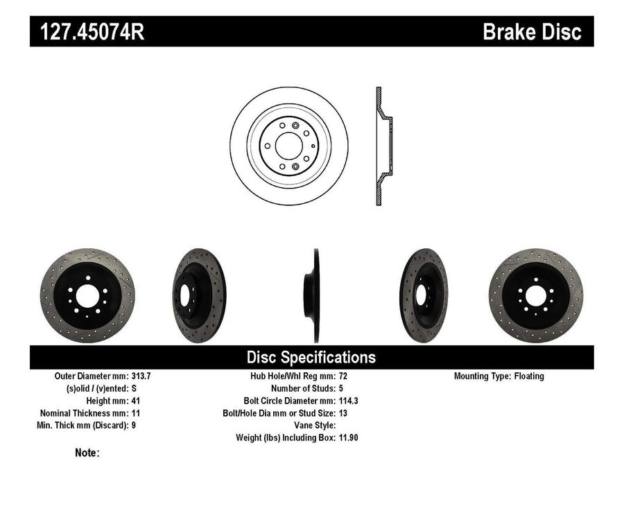 Mazda 6 Mazdaspeed StopTech Disc Brake Rotors Brakes StopTech Sport Drilled/Slotted Disc 127.45074R