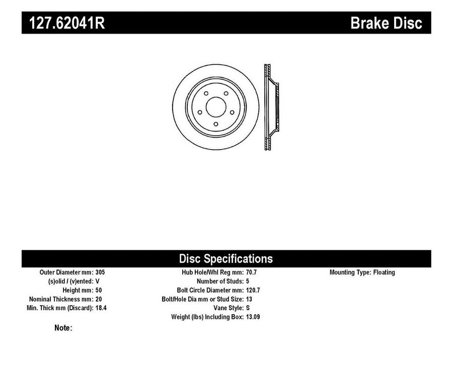 Chevrolet Corvette StopTech Disc Brake Rotors Brakes StopTech Sport Drilled/Slotted Disc 127.62041R