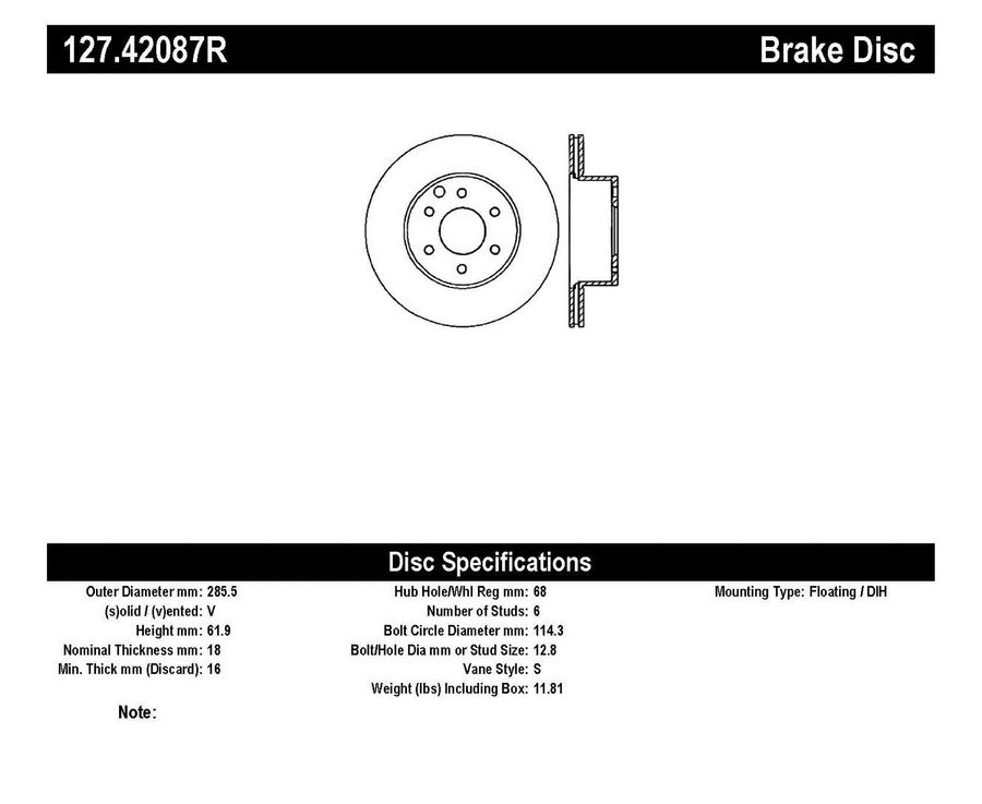 StopTech Disc Brake Rotors Brakes StopTech Sport Drilled/Slotted Disc 127.42087R