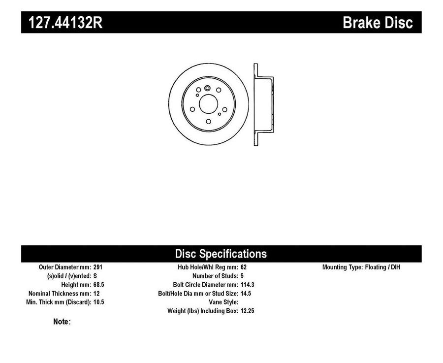 Toyota Sienna StopTech Disc Brake Rotors Brakes StopTech Sport Drilled/Slotted Disc 127.44132R