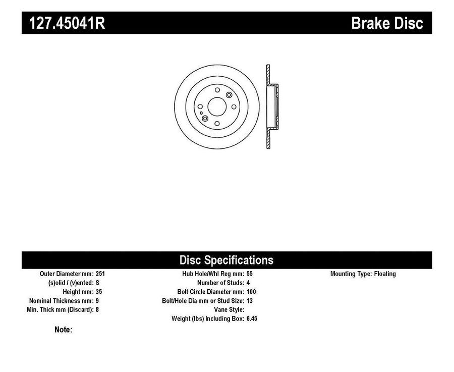 StopTech Disc Brake Rotors Brakes StopTech Sport Drilled/Slotted Disc 127.45041R