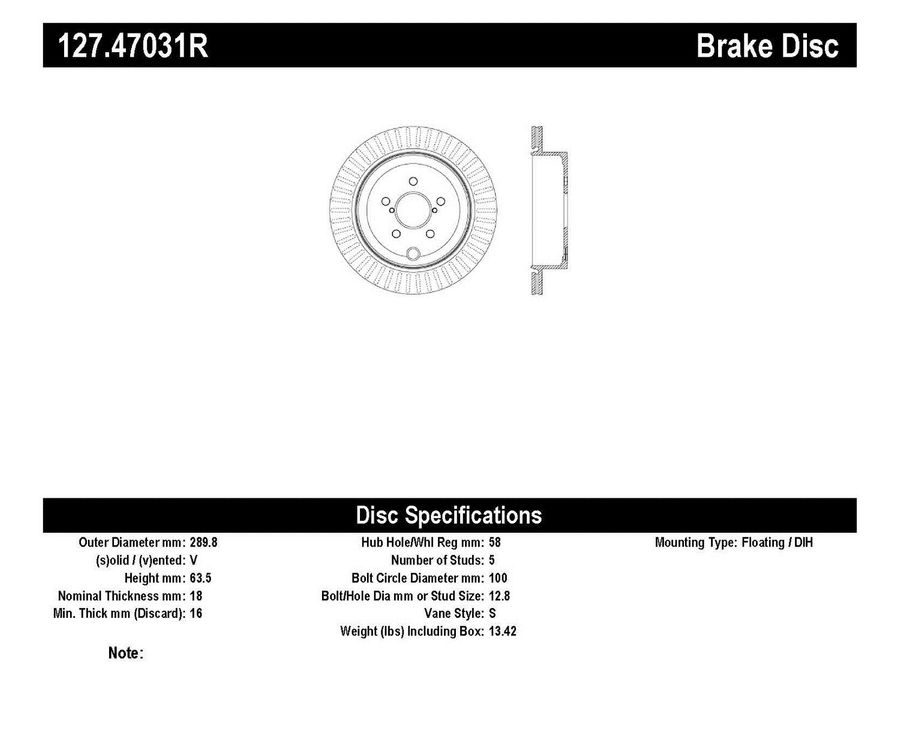 StopTech Disc Brake Rotors Brakes StopTech Sport Drilled/Slotted Disc 127.47031R
