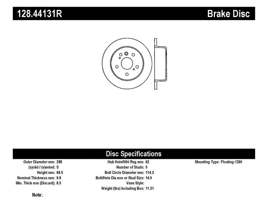 StopTech Disc Brake Rotors Brakes StopTech Sport Drilled Disc 128.44131R