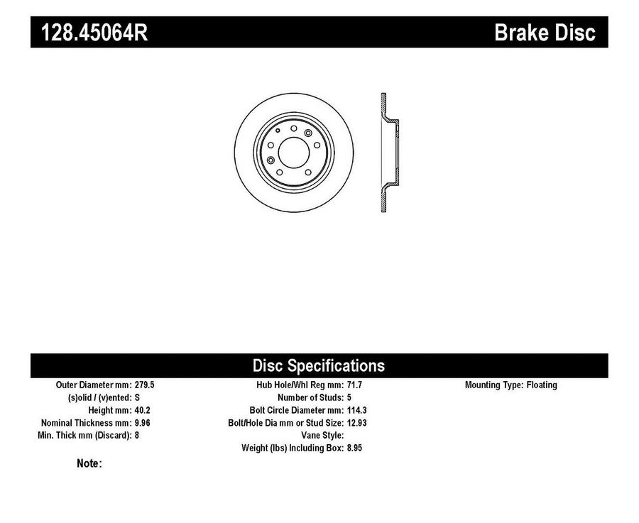 StopTech Disc Brake Rotors Brakes StopTech Sport Drilled Disc 128.45064R