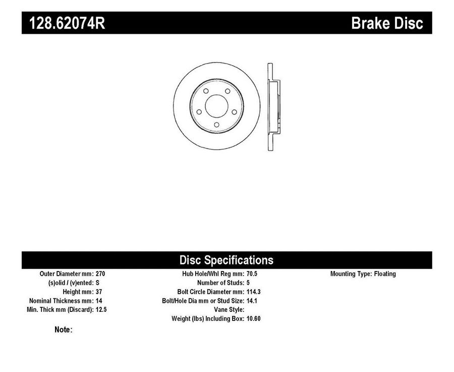 StopTech Disc Brake Rotors Brakes StopTech Sport Drilled Disc 128.62074R