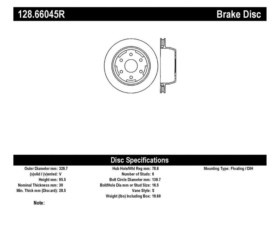 StopTech Disc Brake Rotors Brakes StopTech Sport Drilled Disc 128.66045R