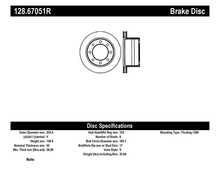 StopTech Disc Brake Rotors Brakes StopTech Sport Drilled Disc 128.67051R