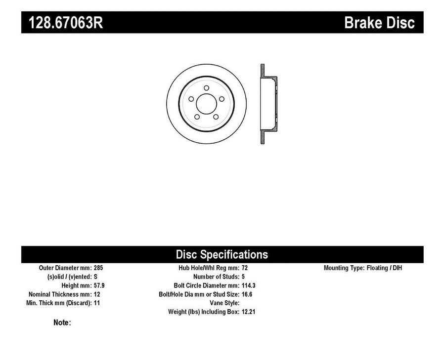 StopTech Disc Brake Rotors Brakes StopTech Sport Drilled Disc 128.67063R