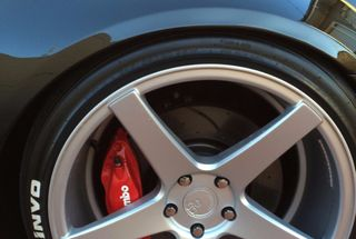 homepage tile photo for Got these Bad boys installed, dimpled + slotted rotors to match...