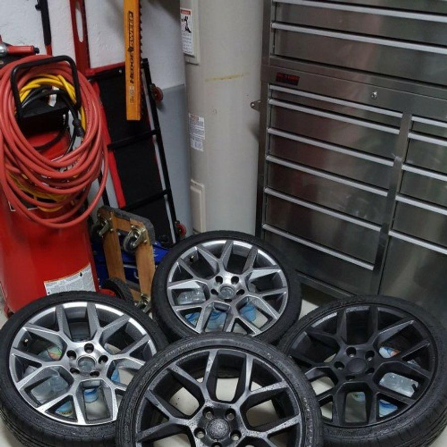 oem laguna style 18x7 5 et45 5x112 wheels rims installed on conan liston s volkswagen golf on wheelwell oem laguna style 18x7 5 et45 5x112