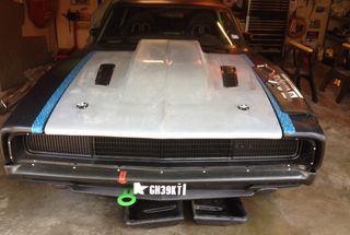 homepage tile photo for Dodge glass hood, with a Chevy cowl induction, and Ford heat...