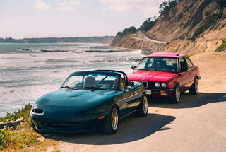 homepage tile photo for E30 and Miata on Highway 1